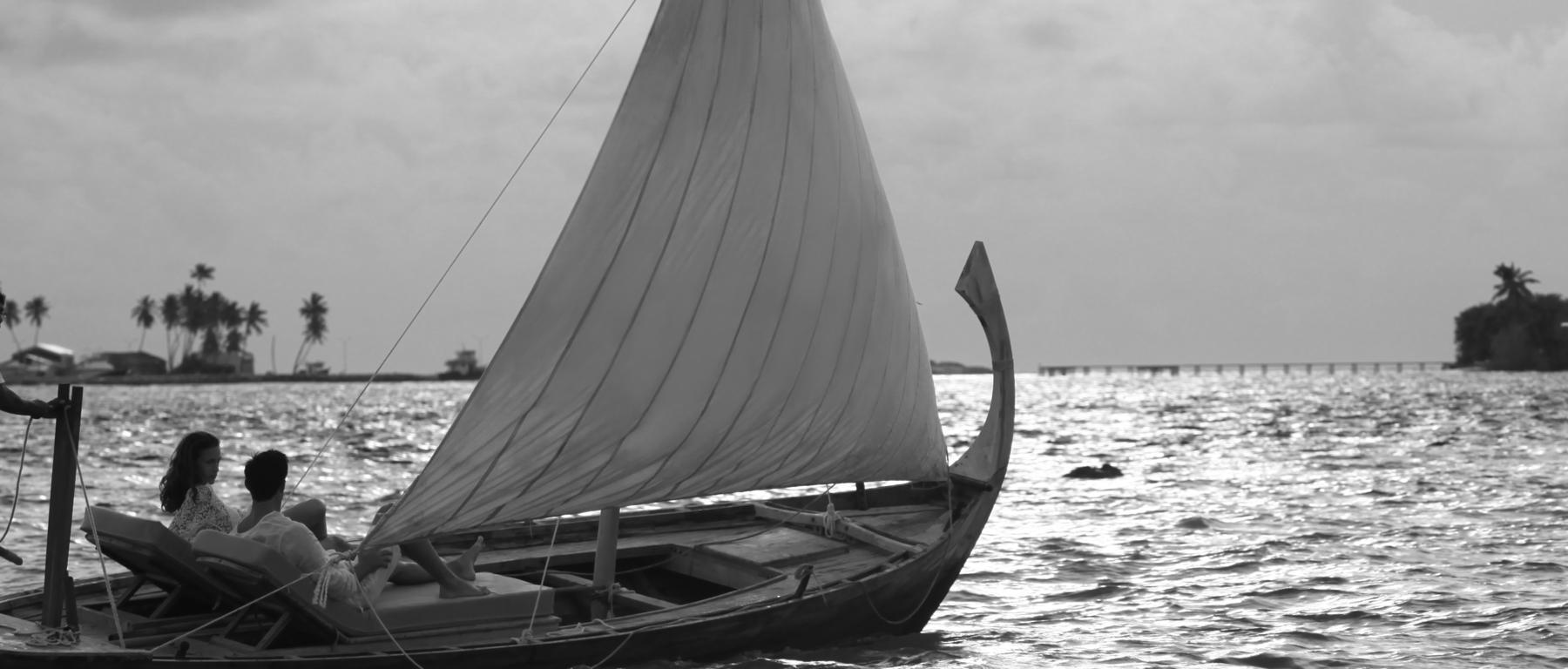 Honeymoon couple on boat