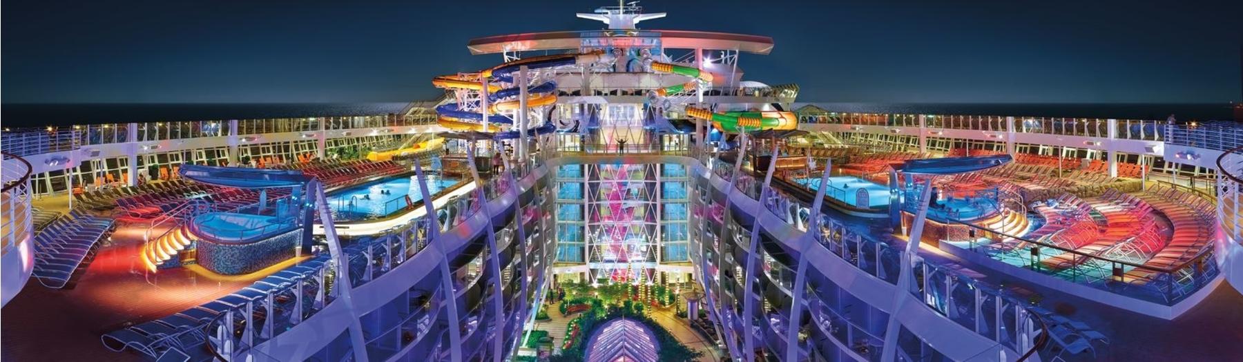 cruise ship aerial night
